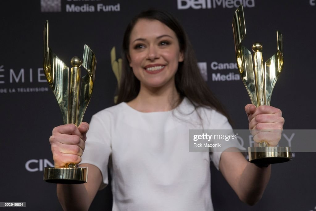 Tatiana Maslany with her two awards. Canadian Screen Awards red carpet at Sony Centre for the Performing Arts ahead of the show.
