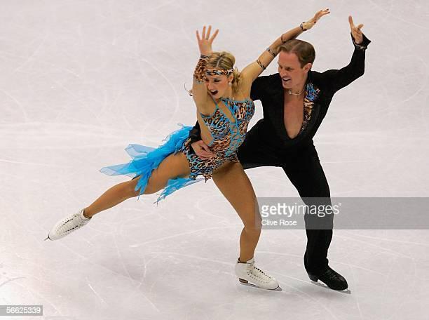 Tatiana Navka and Roman Kostomarov of Russia in action during the Original Ice Dance at the ISU European Figure Skating Championships on January 19...