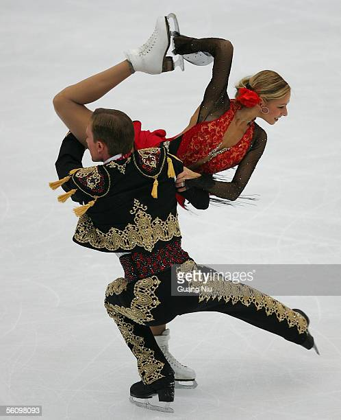 Tatiana Navka and Roman Kostomarov of Russia in action in action during the 2005 China Figure Skating Championship for the ice dancing at Capital...