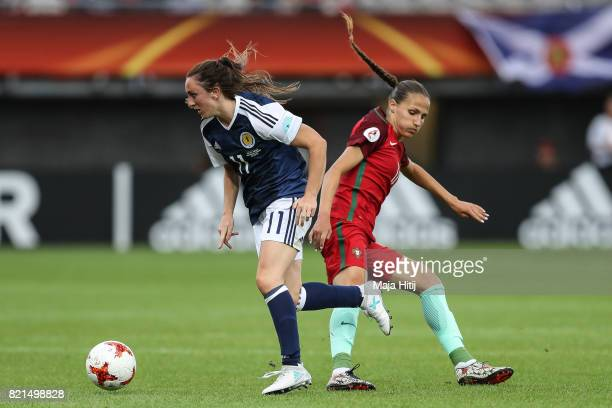 Tatiana Pinto of Portugal and Lisa Evans of Scotland battle for the ball during the UEFA Women's Euro 2017 Group D match between Scotland v Portugal...