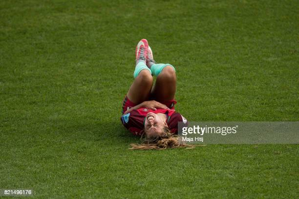 Tatiana Pinto of Portugal reacts during the UEFA Women's Euro 2017 Group D match between Scotland v Portugal at Sparta Stadion on July 23 2017 in...