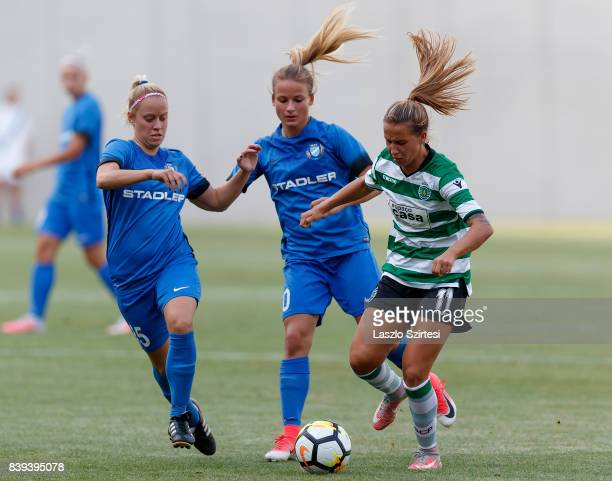 Tatiana Pinto of Sporting CP competes for the ball with Diana Csanyi of MTK Hungaria FC and Zsuzsanna Szabo of MTK Hungaria FC during the UEFA...