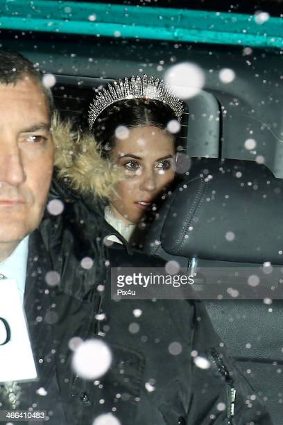 Tatiana Santo Domingo at the wedding of Andrea Casiraghi And Tatiana Santo Domingo at the Rougemont church on February 1 2014 in Gstaad Switzerland