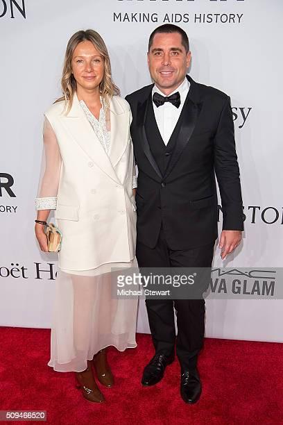 Tatiana Silva and Riccardo Silva attend the 2016 amfAR New York Gala at Cipriani Wall Street on February 10 2016 in New York City