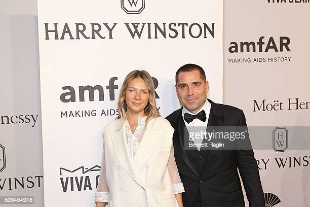 Tatiana Silva and Riccardo Silva pose for a picture during the AmfAR New York Gala 2016 on February 10 2016 in New York City