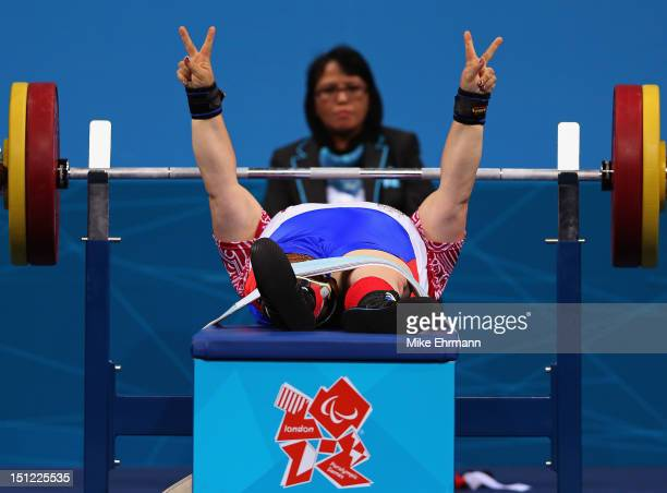 Tatiana Smirnova of Russia competes in the Women's 52 kg Powerlifting on day 6 of the London 2012 Paralympic Games at ExCel on September 4 2012 in...