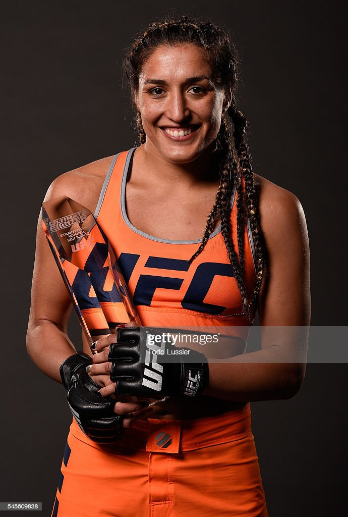 Tatiana Suarez poses for a portrait backstage after her victory over Amanda Cooper during The Ultimate Fighter Finale event at MGM Grand Garden Arena on July 8, 2016 in Las Vegas, Nevada.