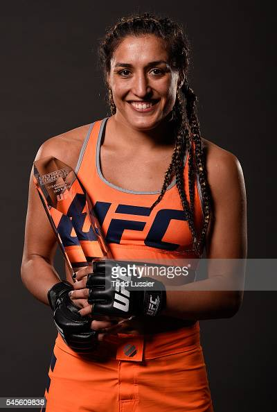 Tatiana Suarez poses for a portrait backstage after her victory over Amanda Cooper during The Ultimate Fighter Finale event at MGM Grand Garden Arena...