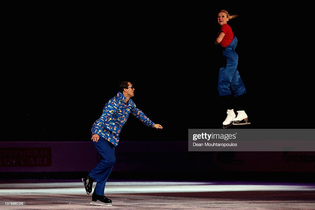 Tatiana Volosazhar and <a gi-track='captionPersonalityLinkClicked' href=/galleries/search?phrase=Maxim+Trankov&family=editorial&specificpeople=798054 ng-click='$event.stopPropagation()'>Maxim Trankov</a> of Russia in action during the Exhibition Galla during the ISU European Figure Skating Championships at Motorpoint Arena on January 29, 2012 in Sheffield, England.