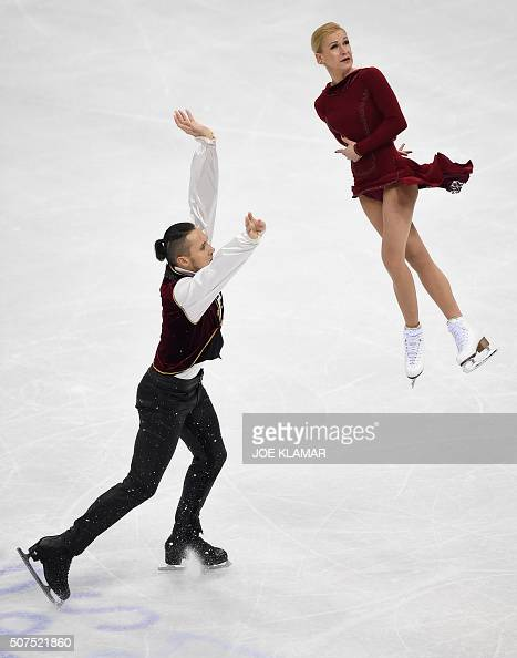 Tatiana Volosozhar and Maxim Trankov of Russia compete during pairs free skating during the European Figure Skating Championship in Bratislava on...