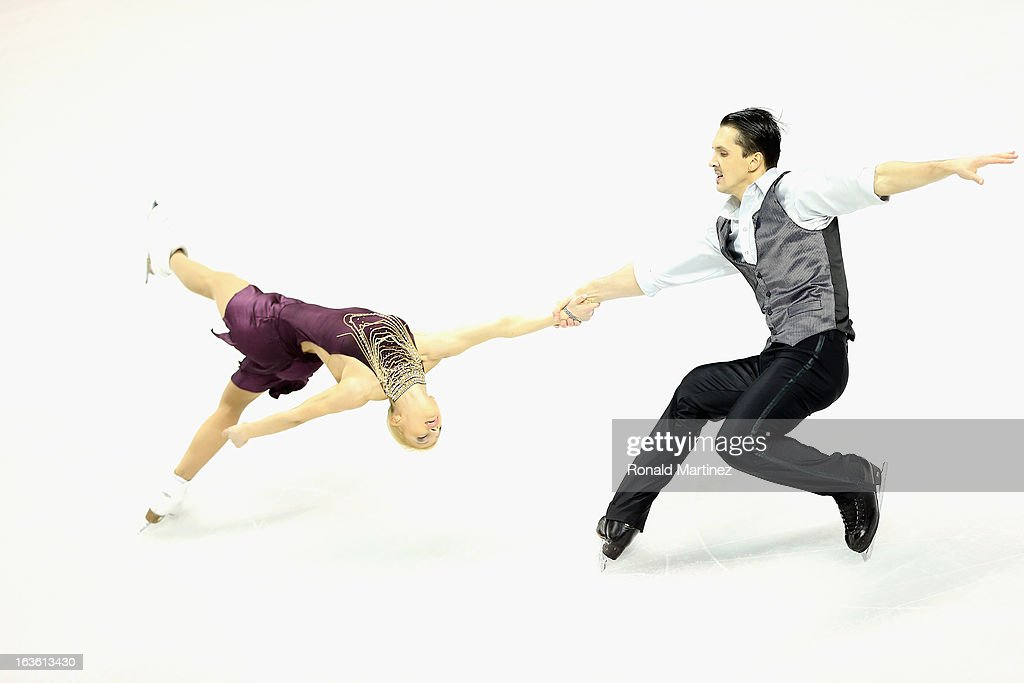 Tatiana Volosozhar and Maxim Trankov of Russia compete in the Pairs Short Program during the 2013 ISU World Figure Skating Championships at Budweiser Gardens on March 13, 2013 in London, Canada.