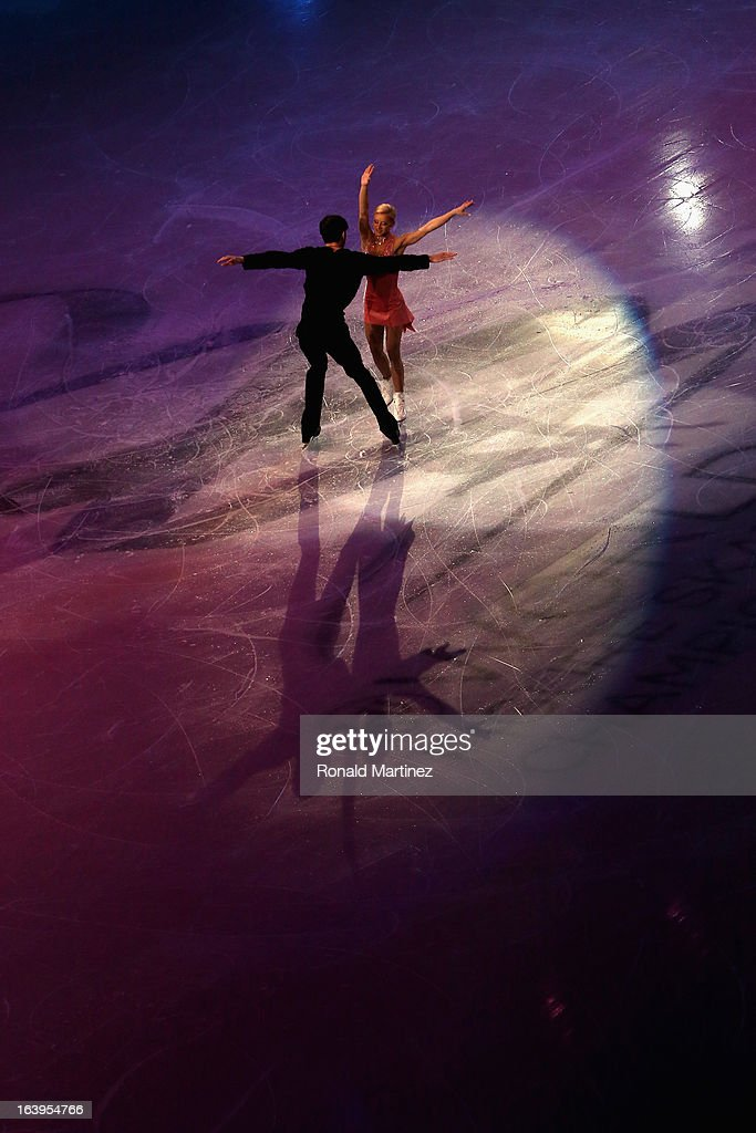 Tatiana Volosozhar and Maxim Trankov of Russia perform during the ISU World Figure Skating Championships 2013 Exhibition Gala at Budweiser Gardens on March 17, 2013 in London, Canada.
