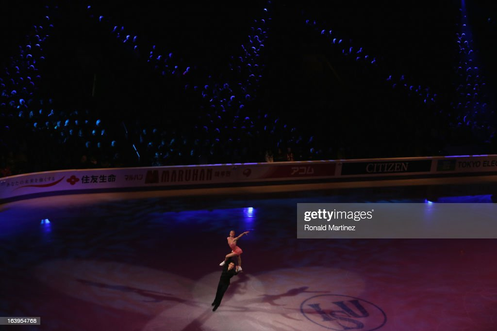 <a gi-track='captionPersonalityLinkClicked' href=/galleries/search?phrase=Tatiana+Volosozhar&family=editorial&specificpeople=798077 ng-click='$event.stopPropagation()'>Tatiana Volosozhar</a> and <a gi-track='captionPersonalityLinkClicked' href=/galleries/search?phrase=Maxim+Trankov&family=editorial&specificpeople=798054 ng-click='$event.stopPropagation()'>Maxim Trankov</a> of Russia perform during the ISU World Figure Skating Championships 2013 Exhibition Gala at Budweiser Gardens on March 17, 2013 in London, Canada.