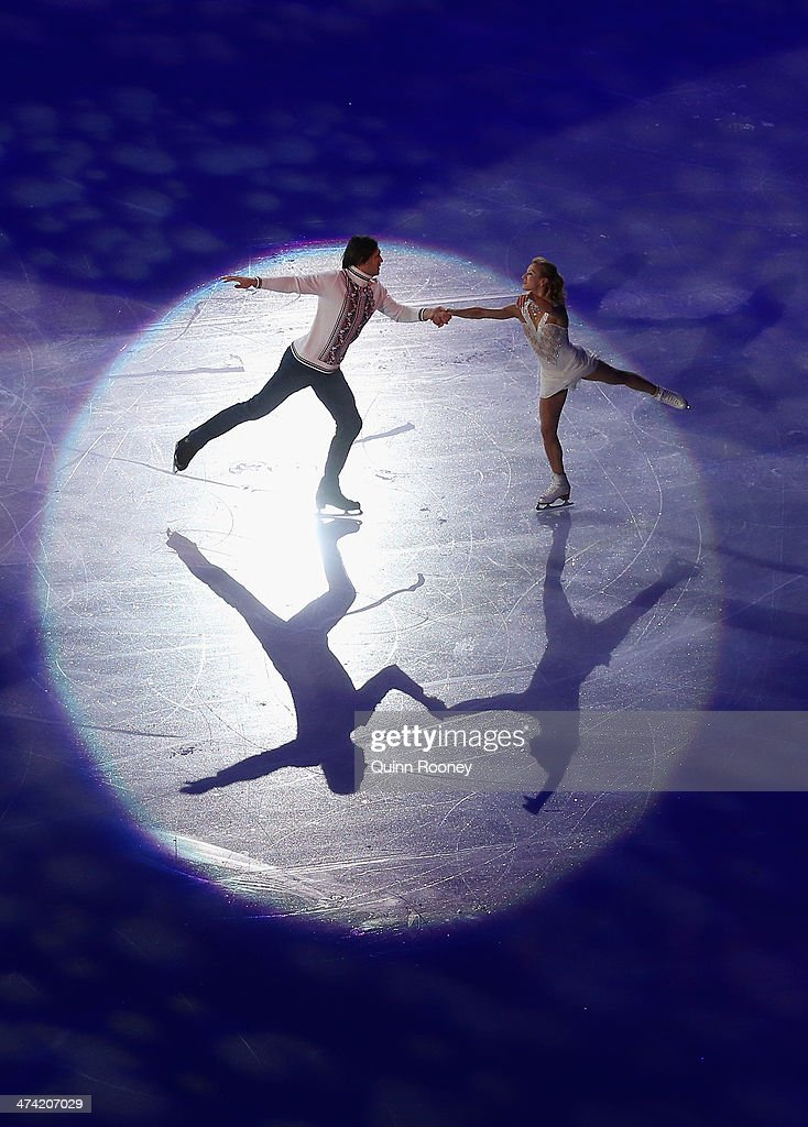 Tatiana Volosozhar and Maxim Trankov of Russia perform during the Figure Skating Exhibition Gala on Day 15 of the Sochi 2014 Winter Olympics at...