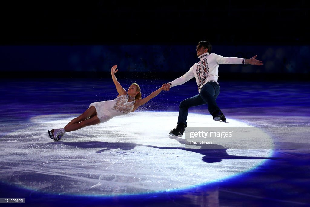<a gi-track='captionPersonalityLinkClicked' href=/galleries/search?phrase=Tatiana+Volosozhar&family=editorial&specificpeople=798077 ng-click='$event.stopPropagation()'>Tatiana Volosozhar</a> and <a gi-track='captionPersonalityLinkClicked' href=/galleries/search?phrase=Maxim+Trankov&family=editorial&specificpeople=798054 ng-click='$event.stopPropagation()'>Maxim Trankov</a> of Russia perform during the Figure Skating Exhibition Gala at Iceberg Skating Palace on February 22, 2014 in Sochi.