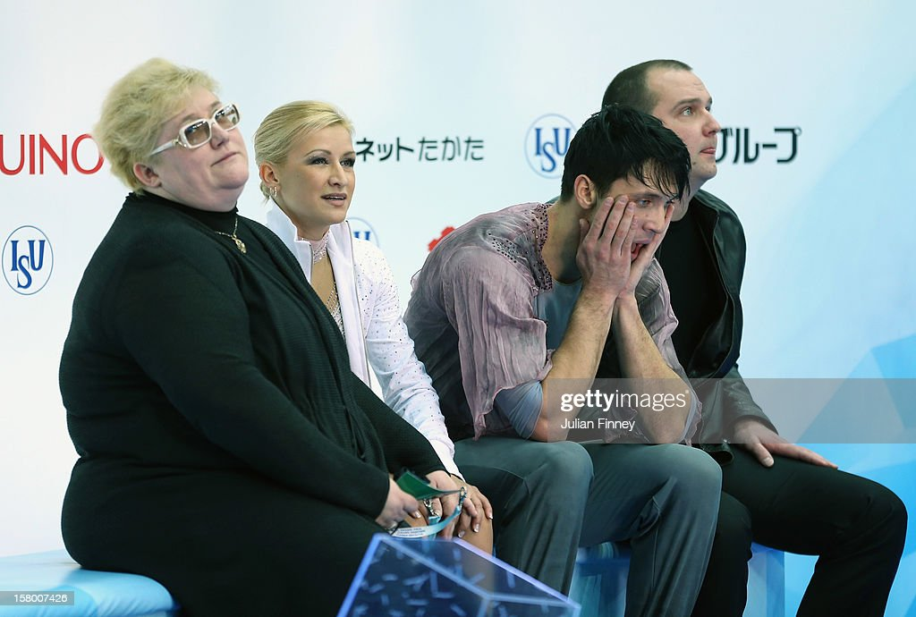Tatiana Volosozhar and Maxim Trankov of Russia react after their performance in the Pairs Free Skating during the Grand Prix of Figure Skating Final 2012 at the Iceberg Skating Palace on December 8, 2012 in Sochi, Russia.