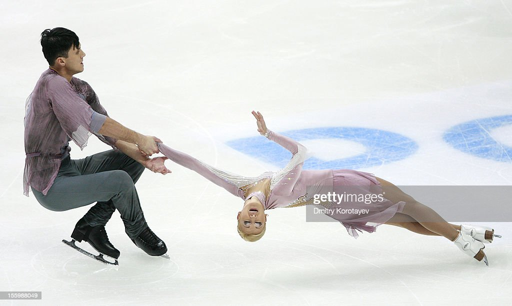 <a gi-track='captionPersonalityLinkClicked' href=/galleries/search?phrase=Tatiana+Volosozhar&family=editorial&specificpeople=798077 ng-click='$event.stopPropagation()'>Tatiana Volosozhar</a> (R) and <a gi-track='captionPersonalityLinkClicked' href=/galleries/search?phrase=Maxim+Trankov&family=editorial&specificpeople=798054 ng-click='$event.stopPropagation()'>Maxim Trankov</a> of Russia skate in the Pairs Free Skating during ISU Rostelecom Cup of Figure Skating 2012 at the Megasport Sports Center on November 10, 2012 in Moscow, Russia.