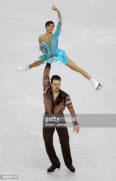 Tatiana Volosozhar and Stanislav Morozov of Ukraine compete in the Pairs Free Skating Figure Skating during Day 3 of the Turin 2006 Winter Olympic...