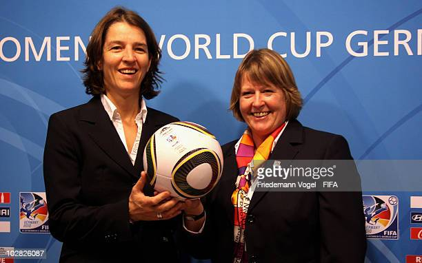 Tatjana Haenni head of FIFA womens's competitions and DFB vice president Hannelore Ratzeburg attend the press conference at the FIFA U20 Women's...