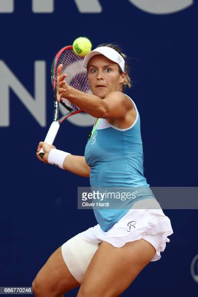 Tatjana Maria of Germany in action against Marie Bouzkova of Czech Republic in the first round during the WTA Nuernberger Versicherungscup on May 22...