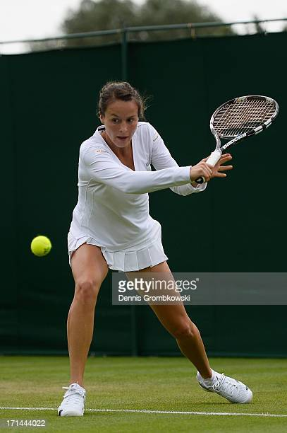 Tatjana Maria of Germany in action during the Ladies' Singles first round match against SuWei Hsieh of Taipei on day one of the Wimbledon Lawn Tennis...