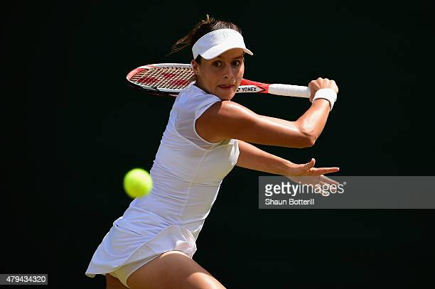 Tatjana Maria of Germany in action in her Ladies' Singles third Round match against Madison Keys of the United States during day six of the Wimbledon...