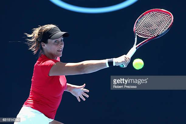 Tatjana Maria of Germany plays a backhand in her 2017 Australian Open Qualifying match against Ksenia Pervak of Russia at Melbourne Park on January...