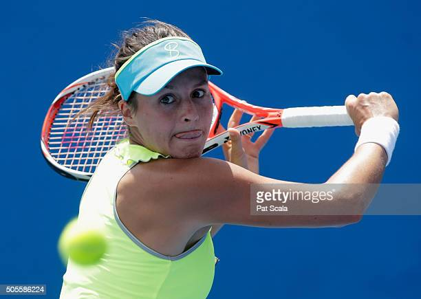 Tatjana Maria of Germany plays a forehand in her first round match against Olga Govortsova of Bulgaria during day two of the 2016 Australian Open at...