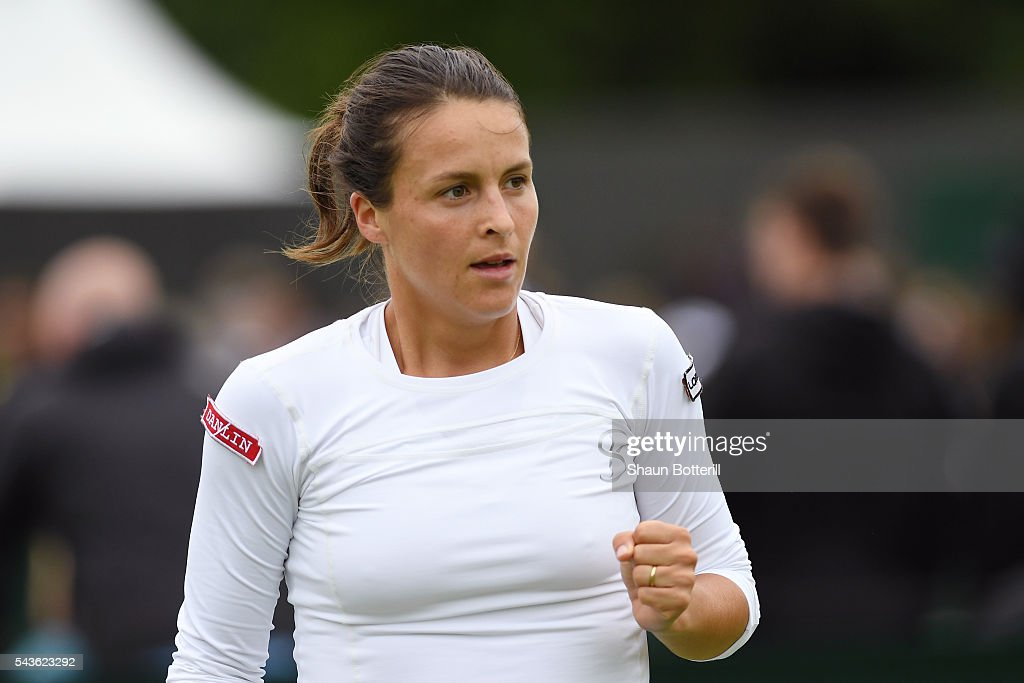 Tatjana Maria of Germanycelebrates during the Ladies Singles first round match against Julia Boserup of the United States on day three of the Wimbledon Lawn Tennis Championships at the All England Lawn Tennis and Croquet Club on June 29, 2016 in London, England.