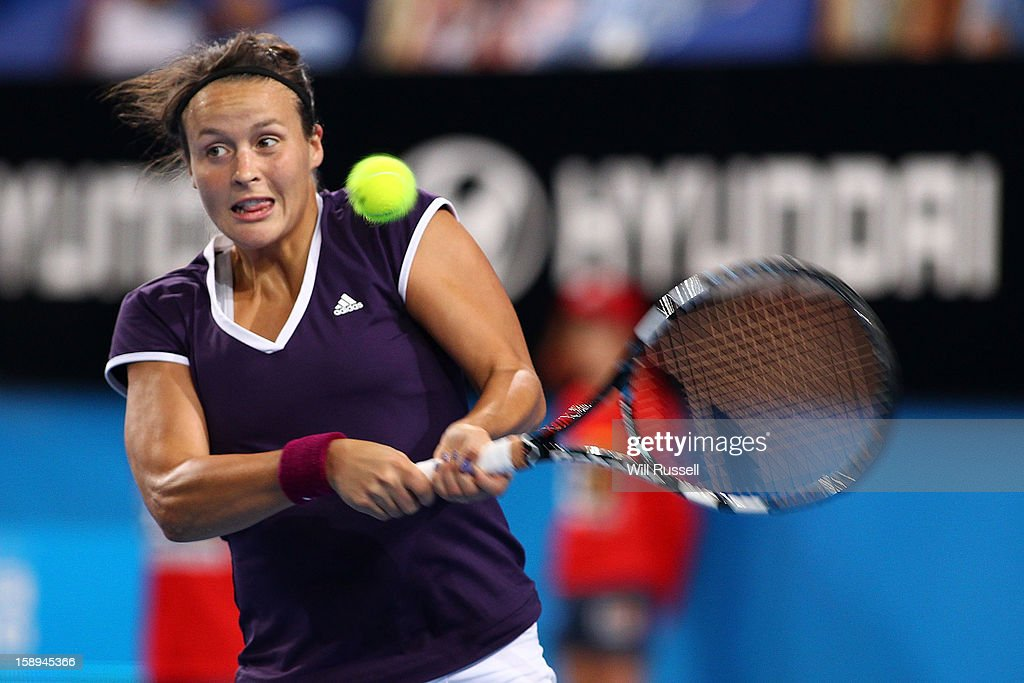 Tatjana Melek of Germany hits a backhand in her singles match against Ana Ivanovic of Serbia during day seven of the Hopman Cup at Perth Arena on January 4, 2013 in Perth, Australia.