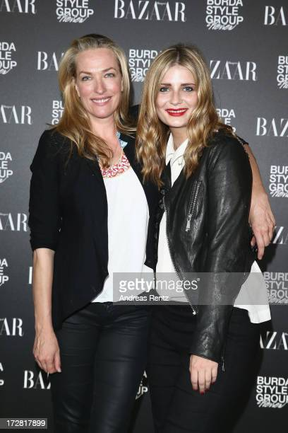 Tatjana Patitz and Mischa Barton attend the Burda Style Group Preview Harper's Bazaar pre launch party during the MercedesBenz Fashion Week...