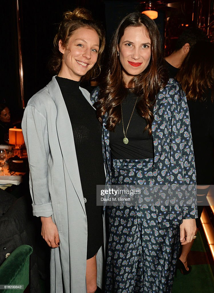 Tatjana Pesko (L) and Tatiana Casiraghi attend a dinner hosted by Roger Vivier to celebrate the Prismick Denim collection by Camille Seydoux at Casa Cruz on March 17, 2016 in London, England.