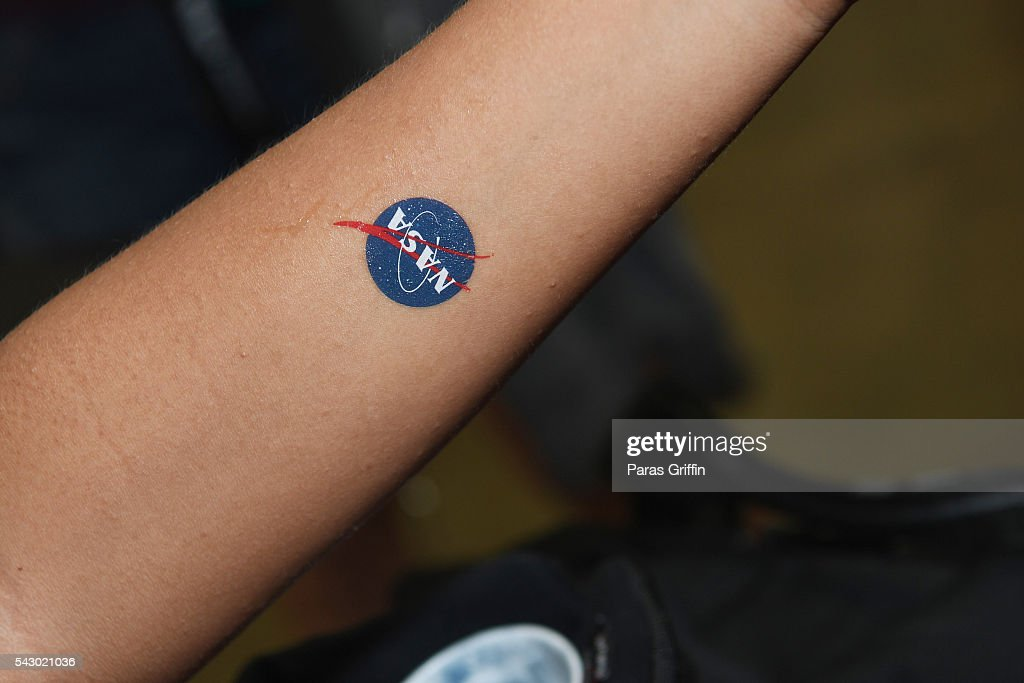 A NASA tatoo is seen at FAN FEST during the 2016 BET Experience on June 25, 2016 in Los Angeles, California.