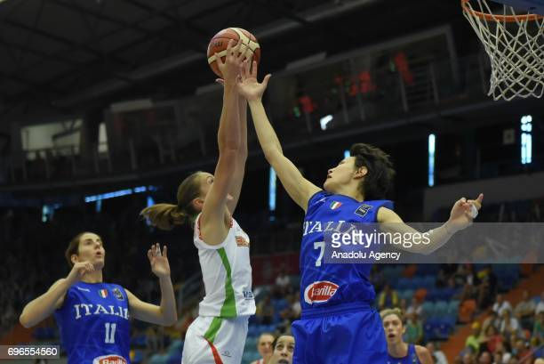 Tatsiana Likhtarovich of Belarus in action against Giorgia Sottana of Italy during the qualification match of 2017 FIBA EuroBasket Women between...