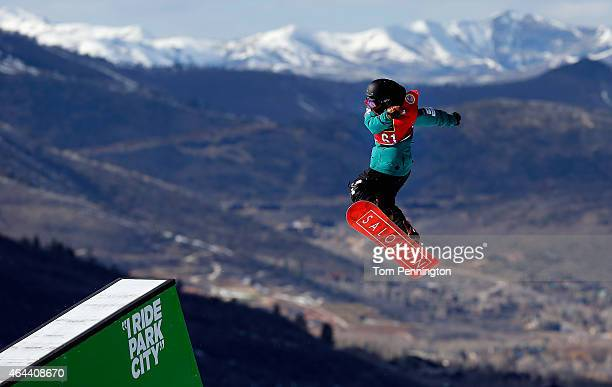 Tatsuki Inamura of Japan competes during qualifying for the FIS Snowboard World Cup 2015 Men's Slopestyle during the US Grand Prix at Park City...