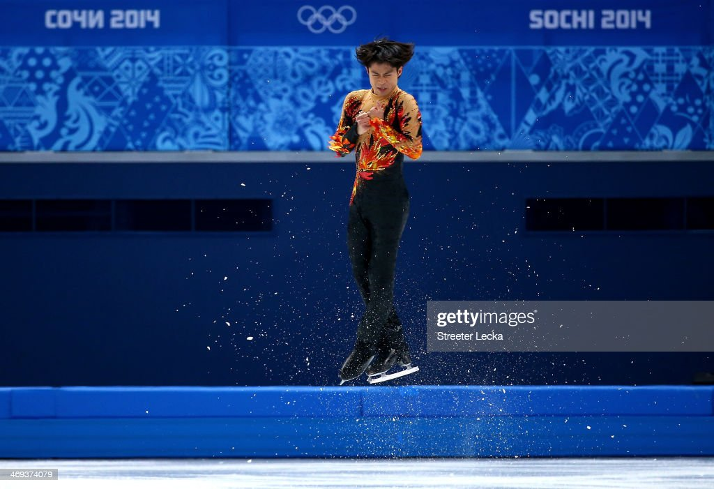 <a gi-track='captionPersonalityLinkClicked' href=/galleries/search?phrase=Tatsuki+Machida&family=editorial&specificpeople=4532357 ng-click='$event.stopPropagation()'>Tatsuki Machida</a> of Japan competes during the Figure Skating Men's Free Skating on day seven of the Sochi 2014 Winter Olympics at Iceberg Skating Palace on February 14, 2014 in Sochi, Russia.