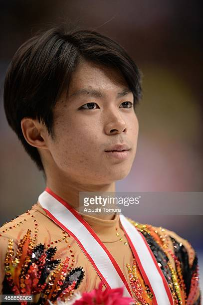 Tatsuki Machida of Japan poses with medal in the men's single victory ceremony during All Japan Figure Skating Championships at Saitama Super Arena...