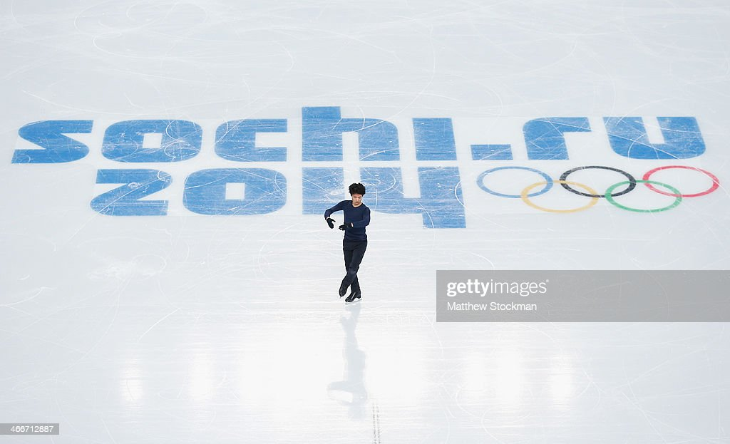 <a gi-track='captionPersonalityLinkClicked' href=/galleries/search?phrase=Tatsuki+Machida&family=editorial&specificpeople=4532357 ng-click='$event.stopPropagation()'>Tatsuki Machida</a> of Japan practices during Figure Skating training ahead of the Sochi 2014 Winter Olympics at Iceberg Skating Palace on February 3, 2014 in Sochi, Russia.
