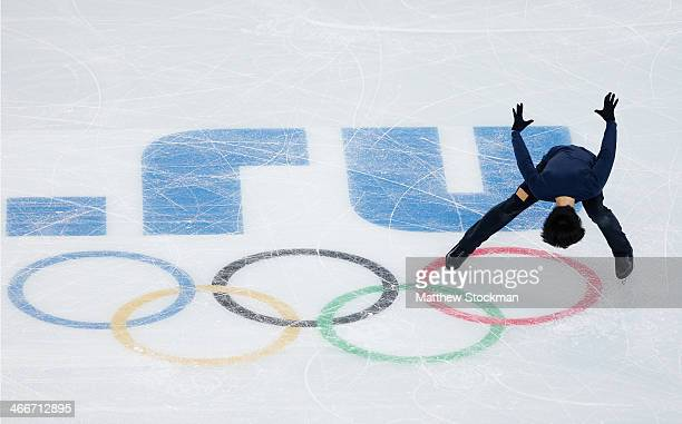 Tatsuki Machida of Japan practices during Figure Skating training ahead of the Sochi 2014 Winter Olympics at Iceberg Skating Palace on February 3...