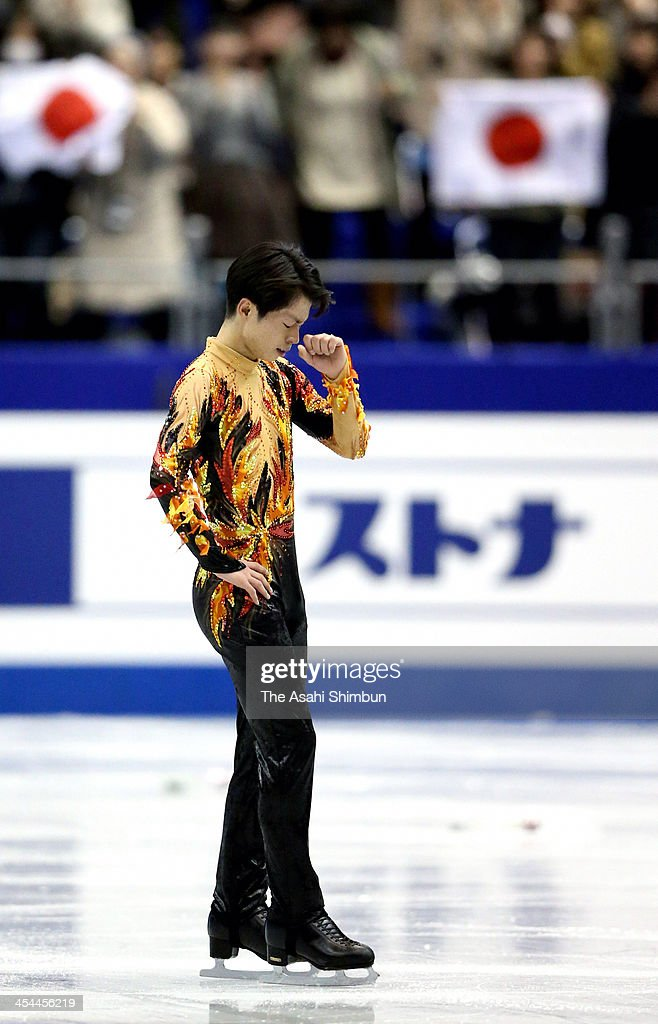<a gi-track='captionPersonalityLinkClicked' href=/galleries/search?phrase=Tatsuki+Machida&family=editorial&specificpeople=4532357 ng-click='$event.stopPropagation()'>Tatsuki Machida</a> of Japan reacts after competing in the Men's free program during the ISU Grand Prix of Figure Skating Final at Marine Messe Fukuoka on December 6, 2013 in Fukuoka, Japan.