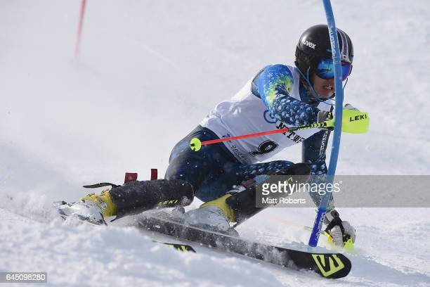 Tatsuki Matsumoto of Japan competes in men's slalom alpine skiing on the day eight of the 2017 Sapporo Asian Winter Games at Sapporo Teine on...