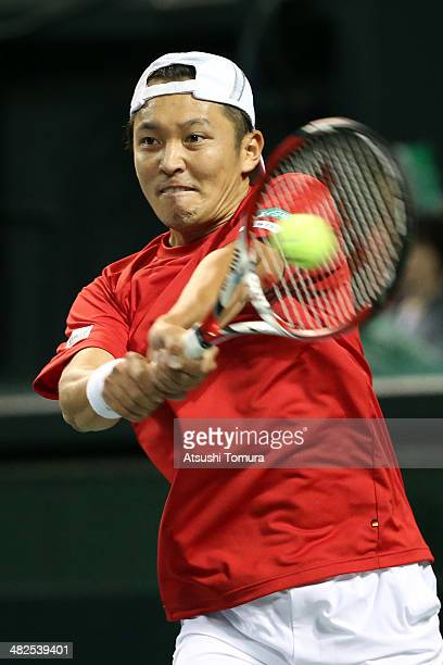 Tatsuma Ito of Japan in action against Radek Stepanek of Czech Republic in a match between Japan v Czech Republic during the Davis Cup world group...