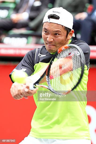 Tatsuma Ito of Japan in action during the men's singles first round match against Yoshihito Nishioka of Japan on day one of Rakuten Open 2015 at...