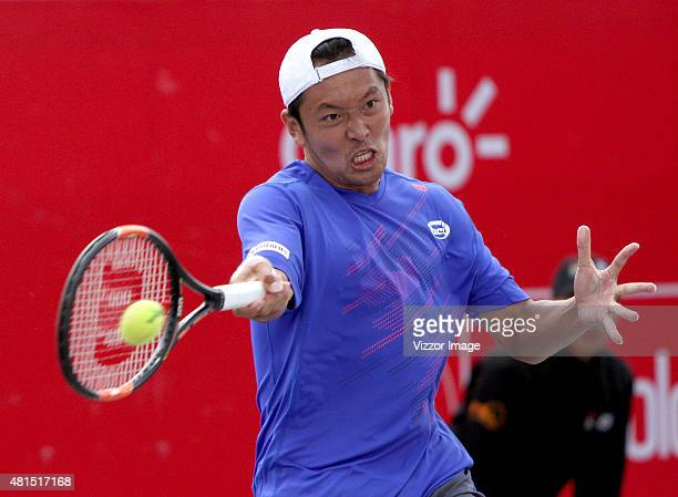 Tatsuma Ito of Japon plays a forehand shot during a match against Matthew Ebden of Australia as part of Claro Open Colombia 2015 day 2 at Centro de...