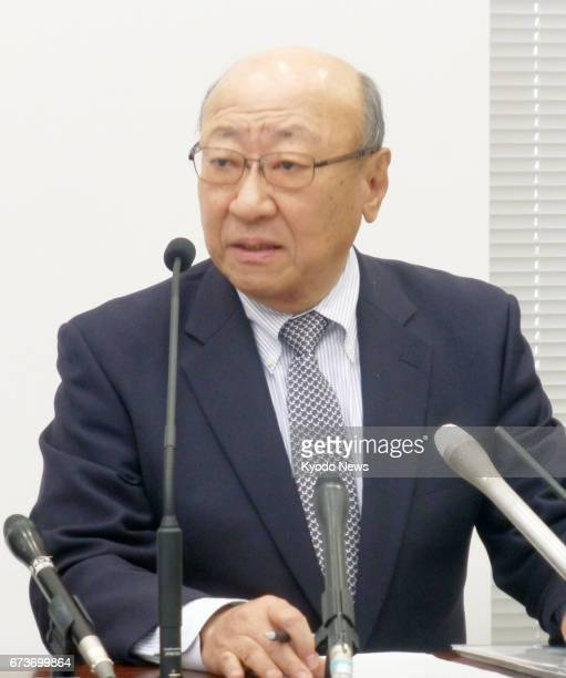 Tatsumi Kimishima president of Nintendo Co briefs reporters at a press conference in Osaka on April 27 about the company's consolidated financial...