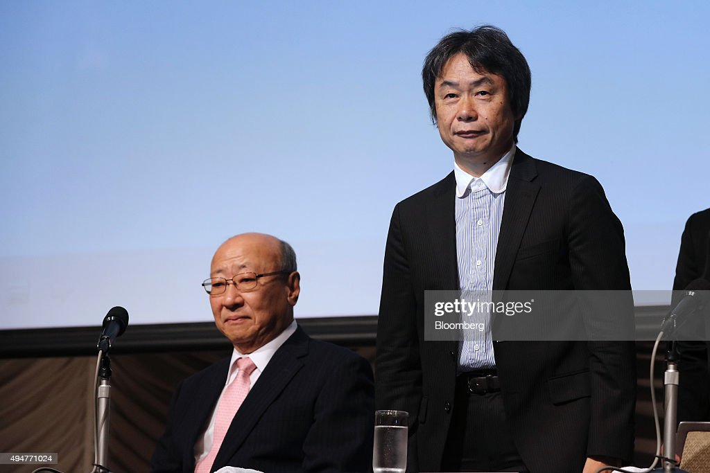 <a gi-track='captionPersonalityLinkClicked' href=/galleries/search?phrase=Tatsumi+Kimishima&family=editorial&specificpeople=13689196 ng-click='$event.stopPropagation()'>Tatsumi Kimishima</a>, president of Nintendo Co., left, and <a gi-track='captionPersonalityLinkClicked' href=/galleries/search?phrase=Shigeru+Miyamoto&family=editorial&specificpeople=2608501 ng-click='$event.stopPropagation()'>Shigeru Miyamoto</a>, senior managing director, attend a news conference in Tokyo, Japan, on Thursday, Oct. 29, 2015. Nintendo fell the most in almost two years after the company said its new smartphone game application won't be released until March, at least three months later than originally promised. Photographer: Yuriko Nakao/Bloomberg via Getty Images
