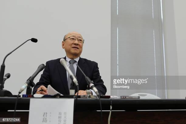 Tatsumi Kimishima president of Nintendo Co speaks during a news conference at the Osaka Stock Exchange in Osaka Japan on Thursday April 27 2017...