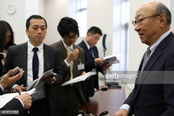 Tatsumi Kimishima president of Nintendo Co speaks to reporters after a news conference at the Osaka Stock Exchange in Osaka Japan on Thursday April...