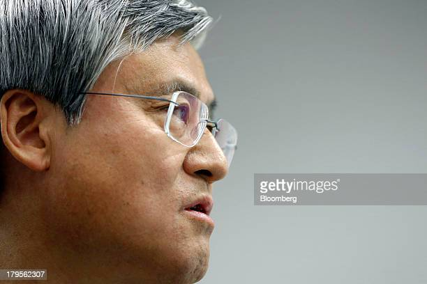 Tatsuo Higuchi president and chief executive officer of Otsuka Holdings Co speaks during a news conference in Tokyo Japan on Thursday Sept 5 2013...