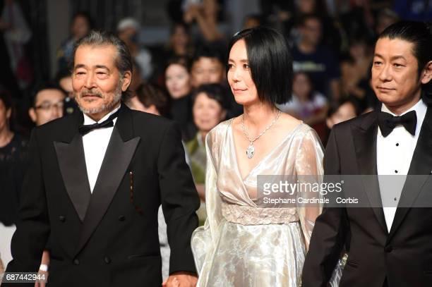 Tatsuya Fuji director Naomi Kawase and Asatoshi Nagase attend the 'Hikari ' screening during the 70th annual Cannes Film Festival at Palais des...